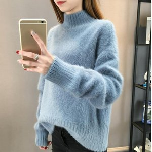 Fluffy Sweater Turtleneck Cashmere Sweater Women Oversized Sweaters Knitted Pull Femme Hiver 2020 Korean Pullover Christmas Pink