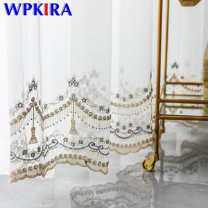 Luxury Blue Floral Embroidered Tulle Curtains Transparent Gold Lace Voile Curtain White Organza For Living Room Rideau X-ZH453D3