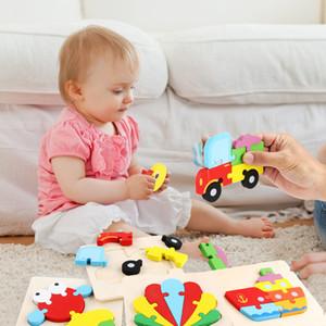 Historieta 3D de madera para niños Puzzle tridimensional de la historieta del bebé Educación temprana Pequeño rompecabezas juguetes educativos al por mayor