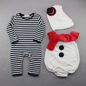 New Children's One Piece Christmas Tres piezas de rayas Snowman Snowman Coat + Hat Baby Traje Niños Set Ripers