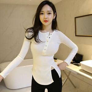 cotton stretch render irregular T Shirt Women 2021 New T Shirt Long Sleeve Tshirt Tees Womens Tops Casual Tee Femme