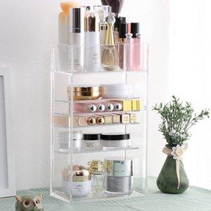 New Clear Acrylic Makeup Organizer Nail Polish Lipstick Cosmetic Sample Holder Makeup Brush Make Up Storage Organizer Box Shelf T200115