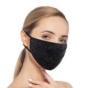 Washable Rhinestone Mask Face Crystal Mask Ercaj Fashion Diamond Women Black Masquerade Reusable Sparkling Bling And For Vmiuw