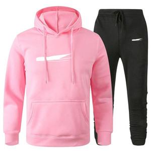Men Designer Hoodies Pants Set Hooded Mens Tracksuit Patchwork Black Solid Color Autumn Winter 2pcs Hoodies Sportsuit