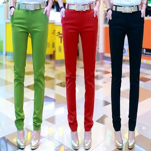 Women Pencil 2020 Autunm High Waist Bodycon Ladies Trousers Candy Color Casual Elastic Slim Belted Pants Pantalon Mujer