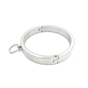 Super Exquisite 2CM High Stainless Steel Collar Neck Ring Necklet Restraint Locking Pins Adult Sex Games Toy For Male Female