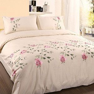 43 Leaves Embroidery White Gray Chic Duvet Cover Bed Sheet Set High End 100%Cotton Soft Bedding Set Queen King size 4 6Pcs