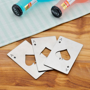Stainless Steel Bottle Opener,Bar Cooking Poker Playing Card of Spades Tools,Mini Wallet Credit Card Openers PPD3428