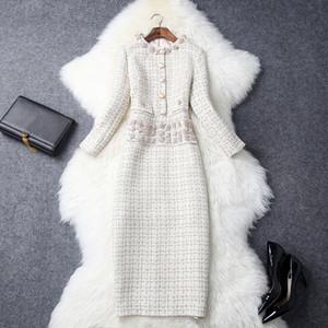 2019 Automne Femmes Dernier Cold Cold Coldine 4/5 Manches Eélégant Strass Plaid Tweed Mid-mollet Une pièce Robe De Mode Robe de travail T8037