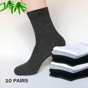 10 Pairs Bamboo Socks Soft White Mens Sport Compression Socks Black Sock Gifts For Man Solid Color Calcetines Hombre 23cm WZ18