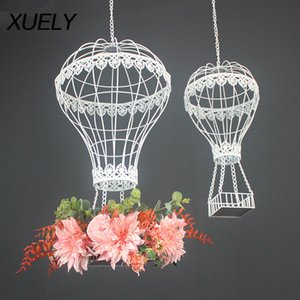 XUELY New wedding props Artificial flower wrought iron balloon air pendant wedding stage decoration ceiling window photography Z1119