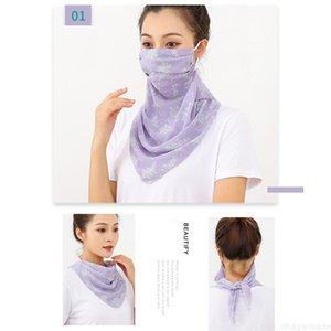Cuello Sunscreen Super para las mujeres Guardia grande Pearl 60cm Mascarilla impresa de gasa impresa para cubrir cara velo de velo bufanda de seda triangular