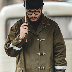 mens coat Over the knee reflective coat men's jacket for fall and winter Kaji American retro mid-length firefighter trench