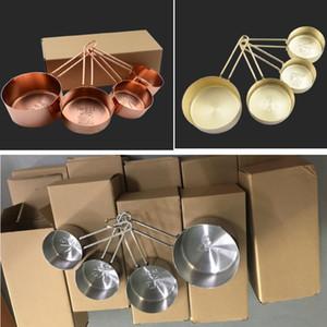 4 ШТ. / Установка Розовое золото Измерительная чашка 4 шт. Установленные инструменты для выпечки Выпечки Пекарные пирожные и выпечки измерительные инструменты HH7-177