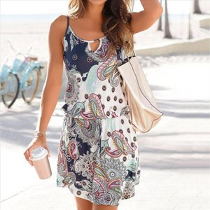 Women Bohemia Dress Casual Printed Sleeveless Summer Vacation Beach Dresses O Neck Cut Out Spaghetti Strap Sundress EP