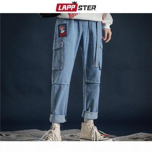 LAPPSTER Korean Fashoins Streetwear Jeans Pants 2020 Ribbons Harajuku Baggy Jeans High Quality Couple Pockets Denim Blue Pants CX200815