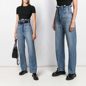 2020 women's new ultra-high waist wide-leg loose A wang tassel straight casual denim blue trousers jeans