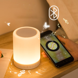 Modern Creative Led Bedside Lamp Rechargeable Bluetooth Stereo Atmosphere Lamp Student Dormitory Table Lamp Music Smart Gift Light