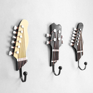 3PCS Wall Mounted Resin Guitar Heads Vintage Movie Home Decor Clothes Hat Hanger Hook Sundries Keys Purse Storage Hanging Hooks