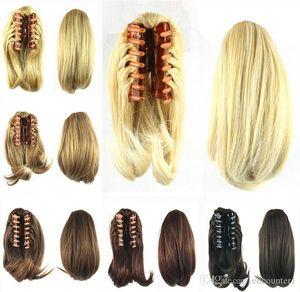 가발 90g 합성 핫 가발 여성 숙녀가 wigs8 클립에서 자연 그리퍼 머리 뜨거운 90g 클립 꼬리 꼬리 색상 머리카락 gripper wblqk