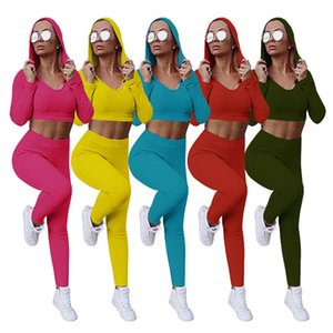 Women two Piece Set Hooded Top Pencil Pants Knitted Bodycon High Stretch Outfit Jogger Matching Set Mejor