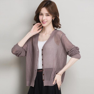 Lady Summer Knit Coat Elegant V Neck Thin Knitwear Hollow Out Knit Outwear Long Sleeve See Through Cardigan