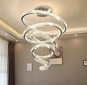 Современная люстра для гостиной Большой отель Hall Hall staircare LED Crystal Chastliers Круглые кольца светлые светильники