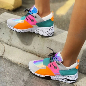 INS Hot Women Casual Shoes Multicolor Leggings 2020 Fashion Rivets Increased Comfort Running Sneakers Seasons Plus Size 36-43 #1X4h