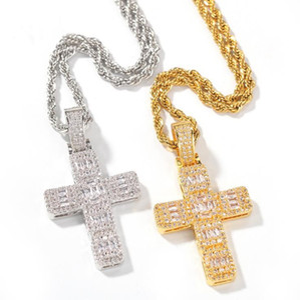 European and American classic Jesus cross necklace set square zirconium trend hip-hop rap men's jewelry
