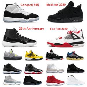 2020 Chaussures de basketball 4 Cat Black Cat Red Concord Bred 11s 4S Blanc Ciment Hommes Space Confiture Blackout Jubilé 25e anniversaire avec boîte