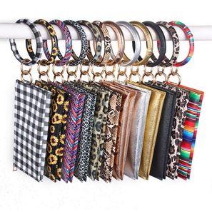 Leopard Print PU Leather Tassel Bracelet Double Layer Women's Keychain Wallet Card Bag Mobile Phone Bag Clutch Wallet designer handbags 2288
