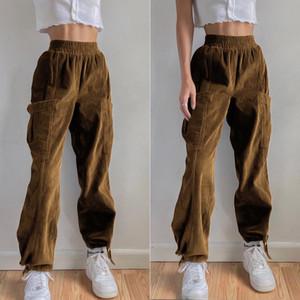 Wiccon Kadife Pantolon Womne's Bahar 2021 Yeni Elastik Yüksek Bel Cep Kravat Ayak Gevşek Kadın Katı Renk Pantolon