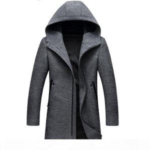 Winter Long Hooded Trench Coat Men Winter Casual Men's Wool Hoodie Trench Coats Zipper Slim Fit Mens Windbreaker Pea Coat