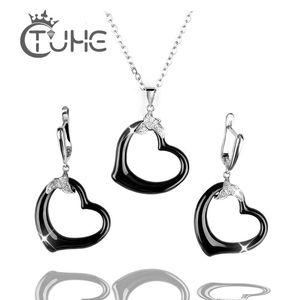 Ohrringe Halskette Frauen Schmuck Set Schwarzer Herzform Keramik Anhänger mit Bling CZ Für Trendy Marke Hochzeit