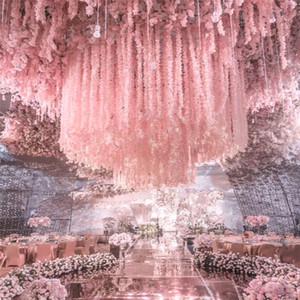 1 M Uzun Yapay İpek Çiçekler Wisteria Vine Rattan 20 Renkler Sahte Çiçek Masa Centerpieces Düğün Dekorasyon Bahçe Duvar Çiçek GWD3459