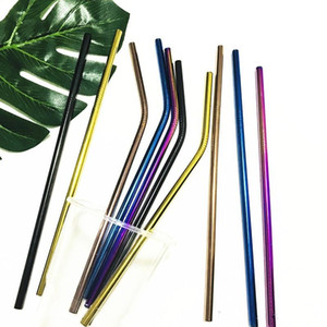 8.5inch 10.5inch Reusable Stainless Steel 304 Bent Straight Drinking Straws for for 900ML Cup Gold Rose Gold Black Rainbow Color Z516