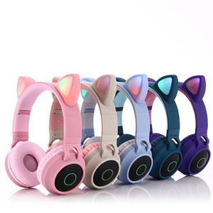 Wireless LED Cat Ear Noise Cancelling Headphones Bluetooth 5.0 Young People Kids Headset Support TF Card 3.5mm Plug With Mic