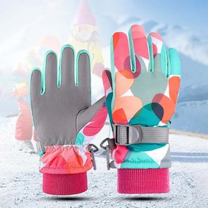 Ski Gloves Winter Children's Warmth And Thick Printing Stitching Windproof And Waterproof Outdoor Snow Gloves