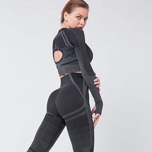 Chrleisure Sports Suit Back Hollow Long Sleeve Yoga Set Elasticity Tight Stripe Tracksuit Women Push Up Gym Fitness Clothing Y201128