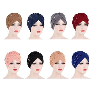 2020 New Women Ruffle Hijabs Beads Pearls Turban Caps Islamic Twist Bonnet Stretchy Beading Headscarf Warp African Indian Hat