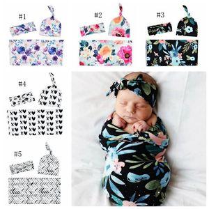 Baby Printed Wrapper Set Floral Bedding Clothing Newborn Swaddling Blanket Headband Hat 3pcs Sets Infant Photography Props 5 Designs