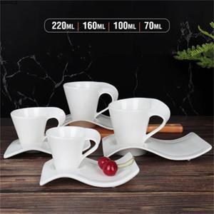 Hochzeit 70ml-220ml Europäische Keramik Kaffeetasse und Untertasse Milch Becher Nachmittag Teetasse Kaffeetasse Set Q0108