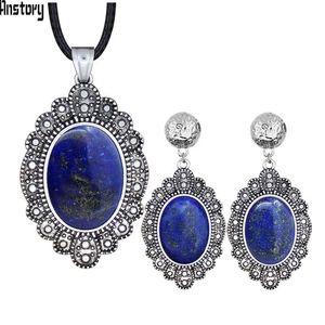 Ohrringe Halskette oval Natürliche Rosa Quarz Lapis Lazuli Jades Schmuck Sets Blatt Anhänger Stud Vintage Mode Ne + EA 499