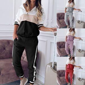 2020 Lounge Wear Plus Size Tracksuit Women Contrast Color Jacket Tops Jogging Pants Sweat Suits Autumn Loose Two Piece Sets 152