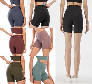 Lu Femmes Leggings Yoga Outfit Thigh Designer Femme Entraînement Salle de sport Porter Solide Sports Fitness élastique Dame Globalement Aligner Collants Pantalons courts