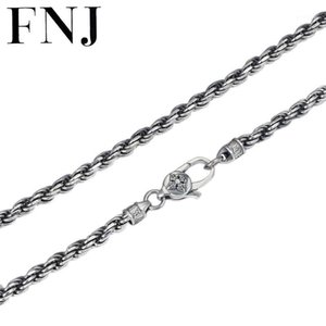 Chains FNJ Rope Chain Necklace 925 Silver 4mm 45cm To 75cm Fine Cross Original S925 Women Men Necklaces For Jewelry Making1