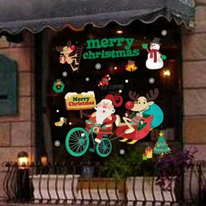 Noel shopwindow stickers navidad Christmas ornament show Window wall sticker new year gift natal plastic sticker merry Christmas