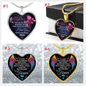 Hot To My Wife Son Daughter Granddaughter Mom Girls Necklace Love Glass Heart pendant DAD MOM I Love You Jewelry Gift