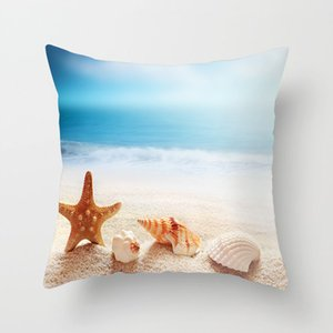 Summer Beach Shell Pillow Case Ocean Pillow Covers Home Sofa Decorations Cushion Covers 45*45cm Polyester ZZC4150