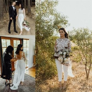 Boho Country Wedding Jumpsuit With Train 2020 Jewel Neck Long Sleeve Lace Floral Backless Summer Holiday Beach Bride Pant Suit Q1113